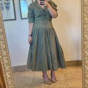 Vintage Army Olive Wide Corset Lace Up dress Green